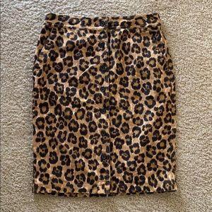 Ralph Lauren Leopard Print Button Front Skirt
